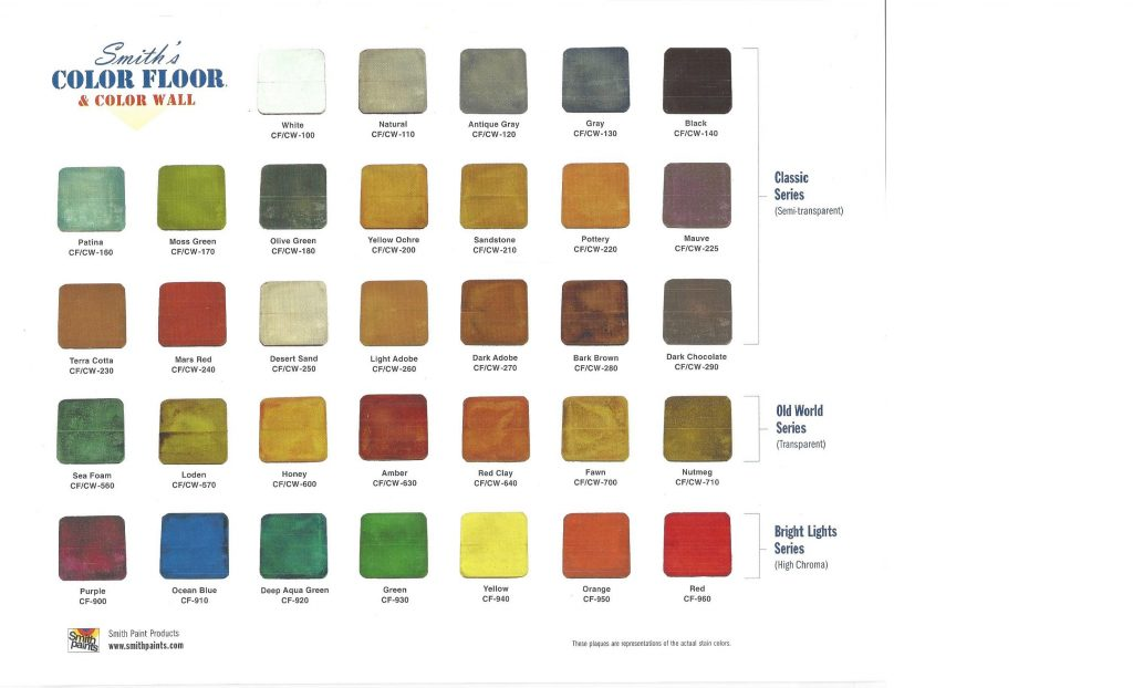 Water Base Stain Color Chart 5-17-2018 - epoxy concrete ...